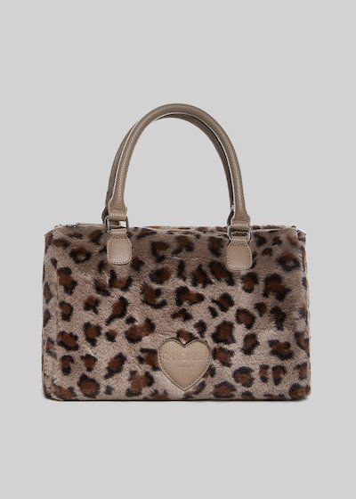 Borsa Bissy in fake fur animalier design
