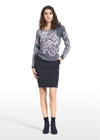 Sweater Mamy with Madonna neckline and floral pattern.