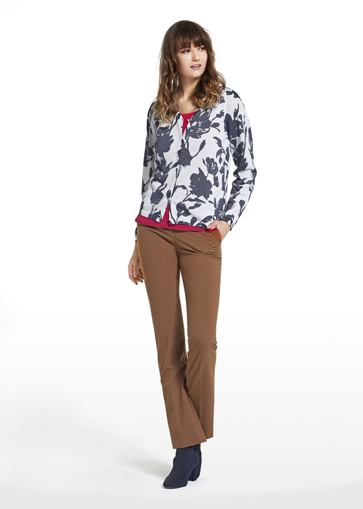 Cardigan Carly in maglia flowers fantasy - White Fantasia - Donna