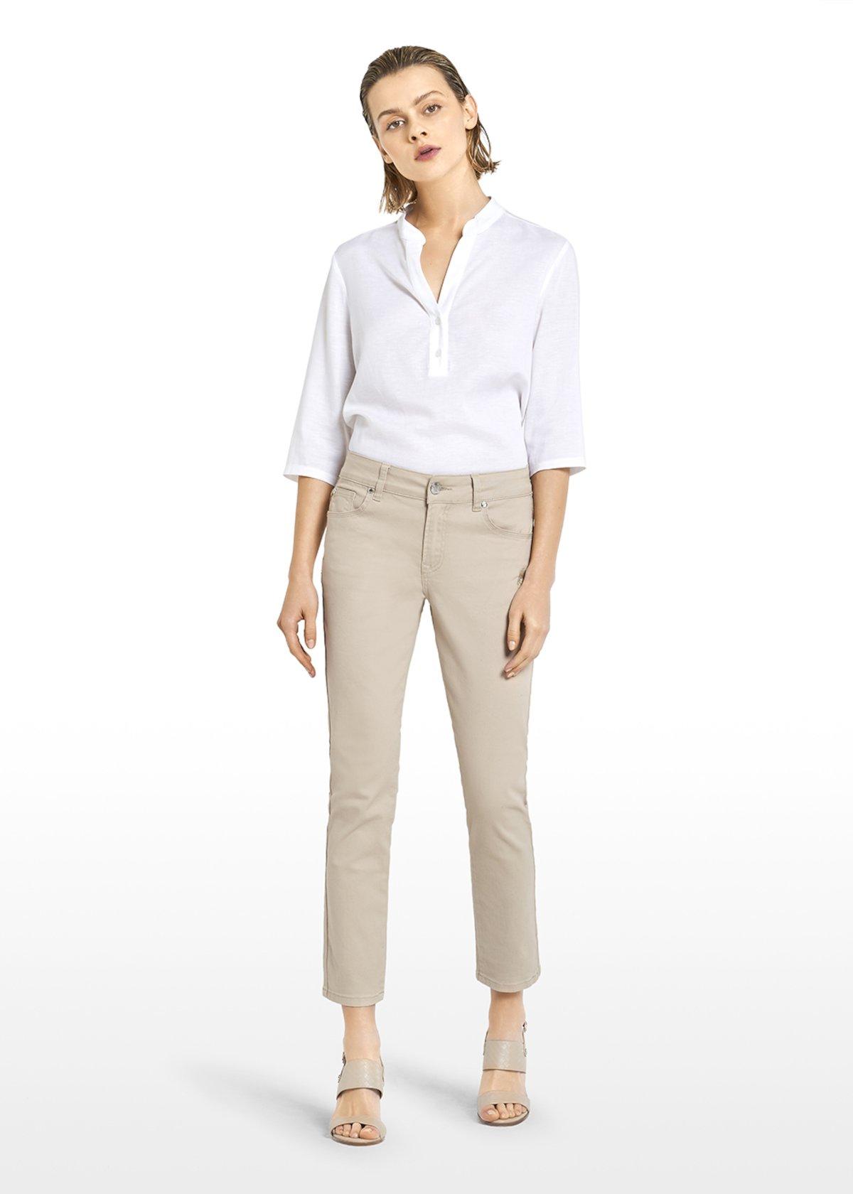 Pantaloni Paky con ricamo in tono - Light Beige - Donna
