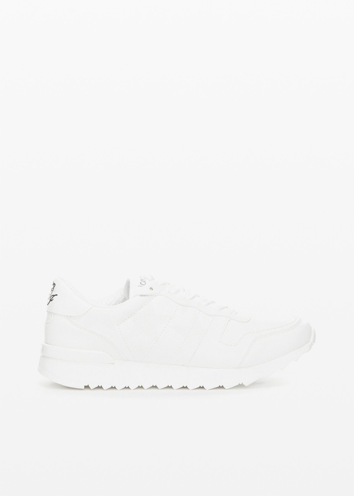 Faux suede and faux leather Selia trainers with glitter stars - White - Woman