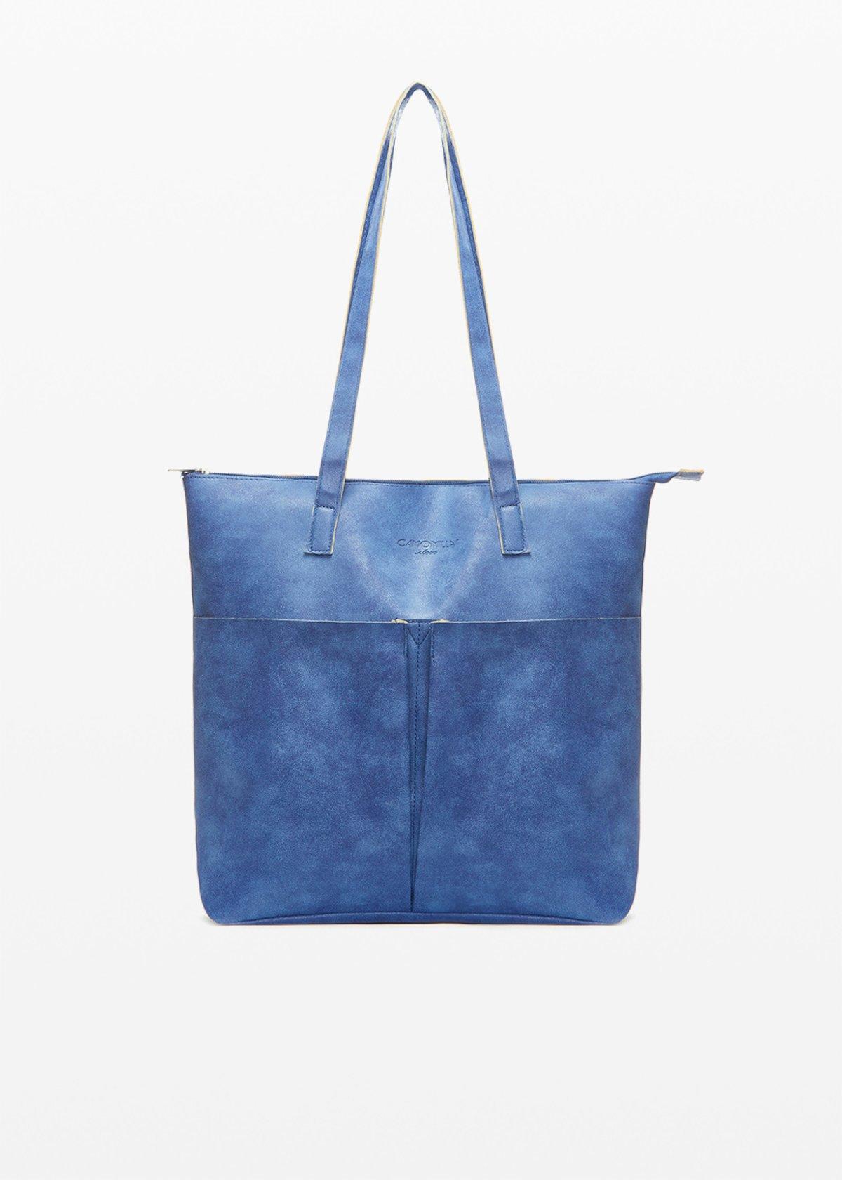Shopping bag Baly6 in ecopelle sfaderata con tasconi sul davanti - Avion - Donna