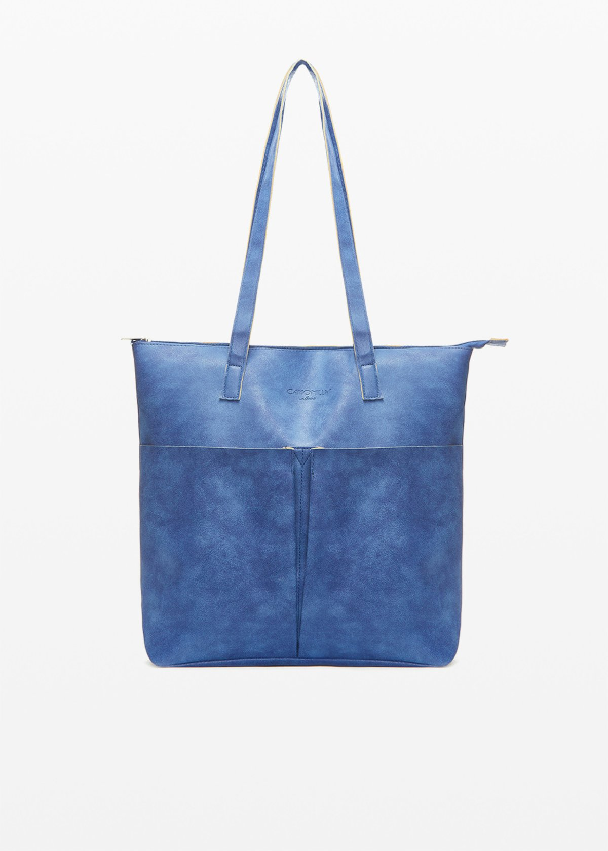 Faux leather Baly6 shopping bag unlined with pockets on the front - Blue