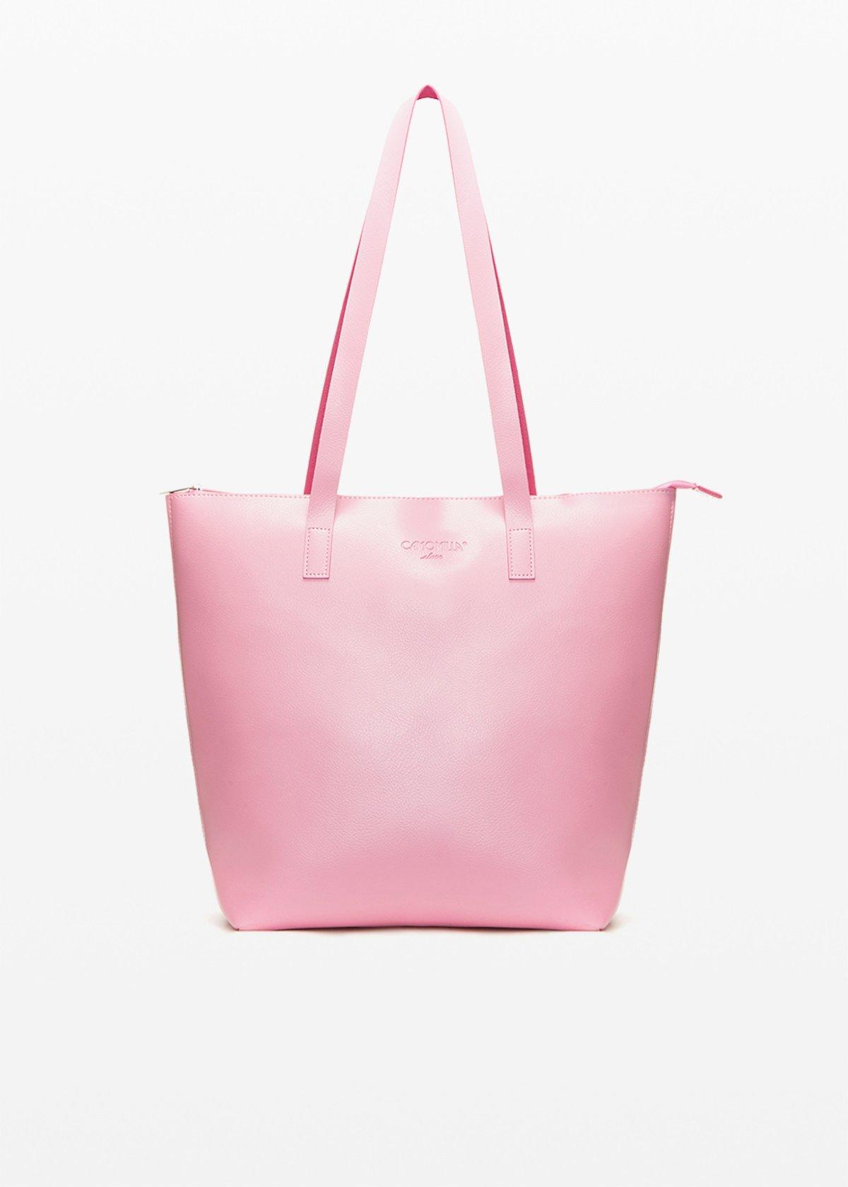 Faux leather Bilia6 shopping bag unlined double colour - Bubble / Hibiscus - Woman