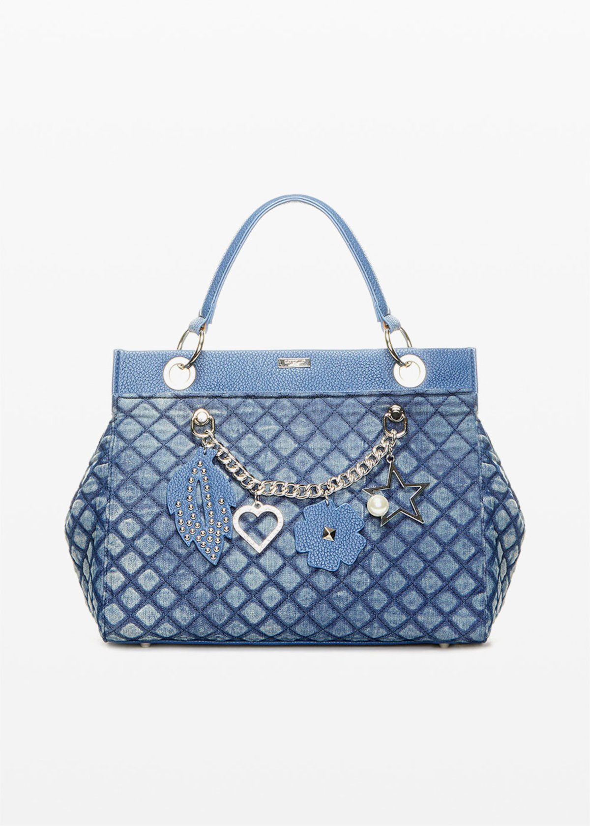 Denim quilted and padded bag Bead with chain & pendants detail - Blue - Woman