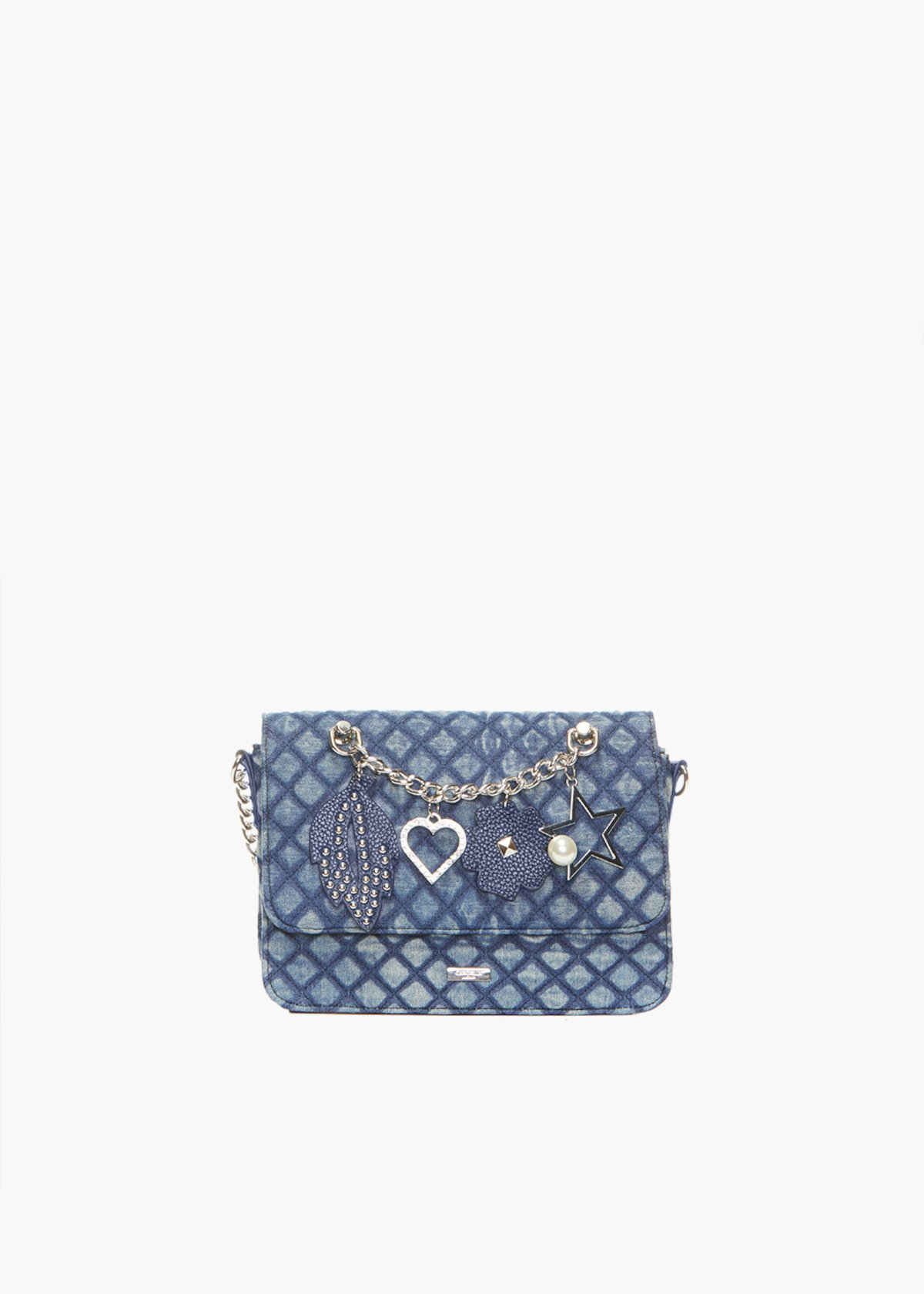 Denim quilted and padded clutch with metal chain & pendants detail - Blue - Woman