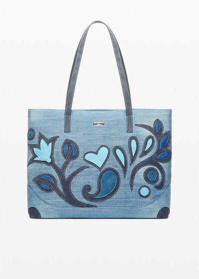 Shopping Bag Blecky effetto denim dal decoro flower