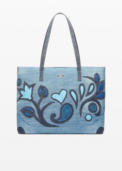 Shopping Bag Blecky effetto denim dal decoro flower