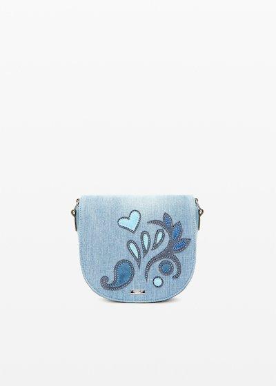 Crossbody bag Blerry effetto denim con patch flower