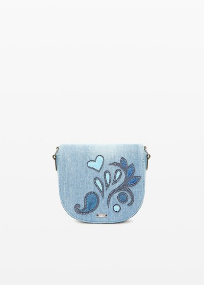 Blerry Crossbody bag denim effect with flower patch