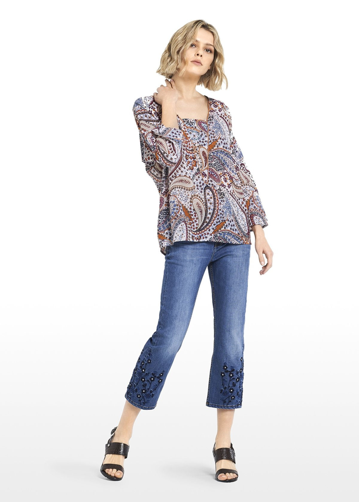 5 Pocket Dorothy denim with embroidery at the bottom - Medium Denim - Woman - Category image