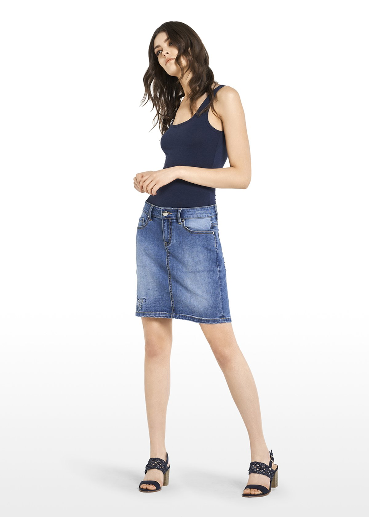 Gaylor Denim skirt with embroidered butterflies - Medium Denim - Woman