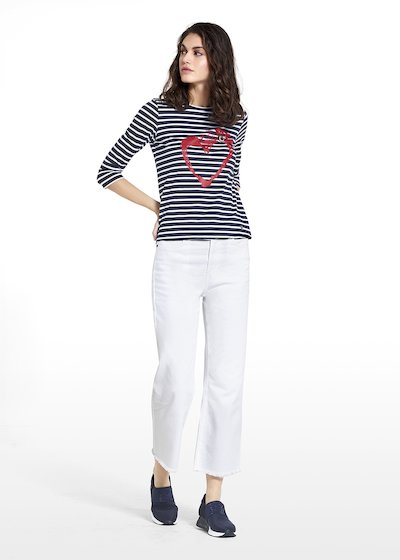 Sweater Sary in jersey stripes style with heart