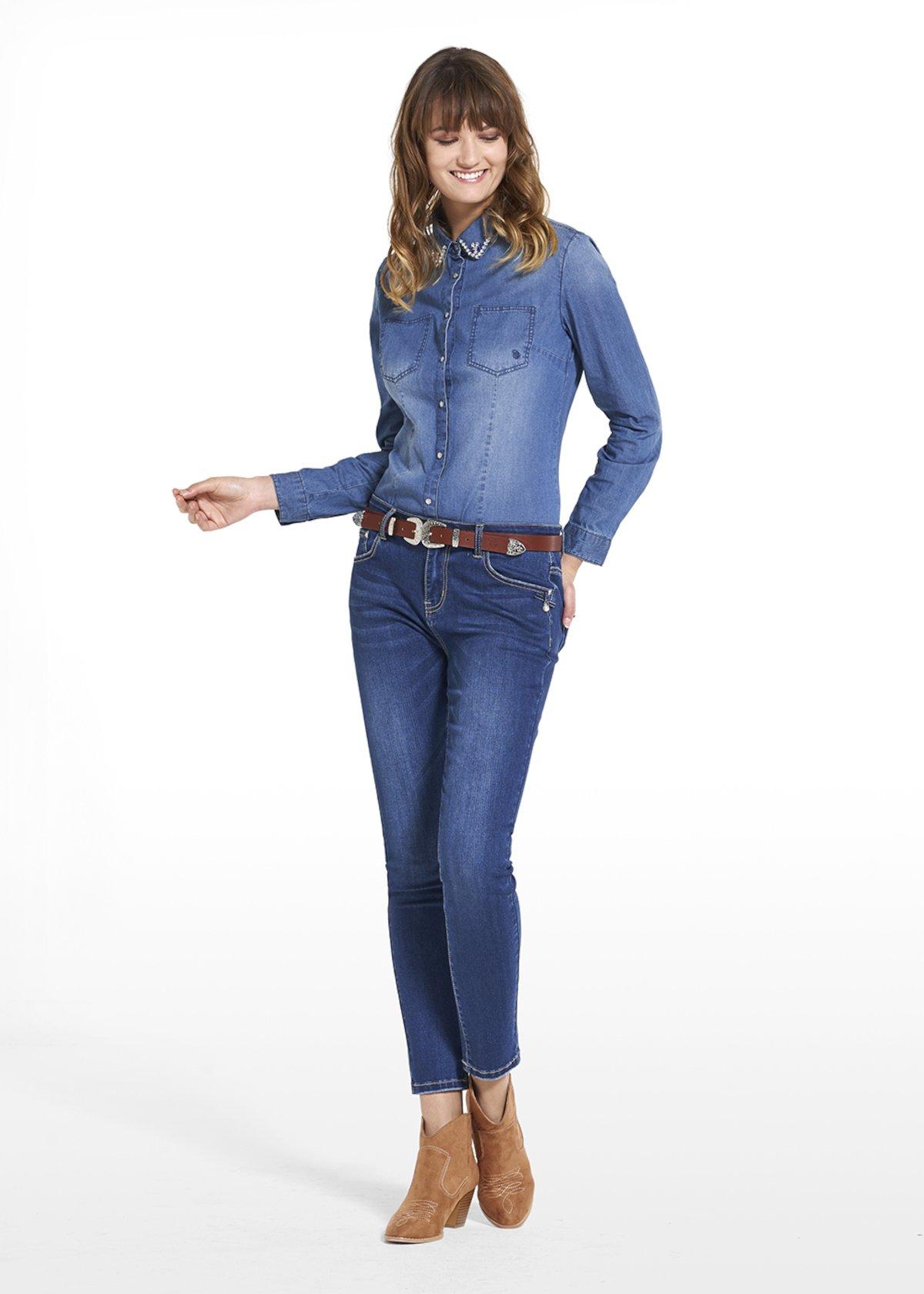 5-pocket skinny leg pants with a grosgrain ribbon detail - Dark Denim - Woman