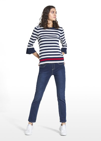 Marilyn printed striped jersey with ruched detail