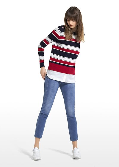 Maddy jersey with tricolor stripes pattern