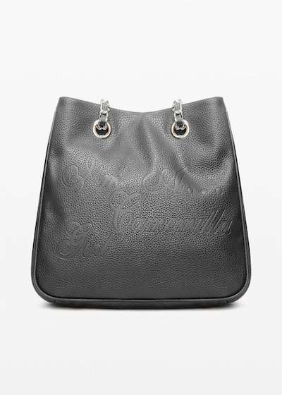 Minicamog faux leather shopping bag with embossed logo