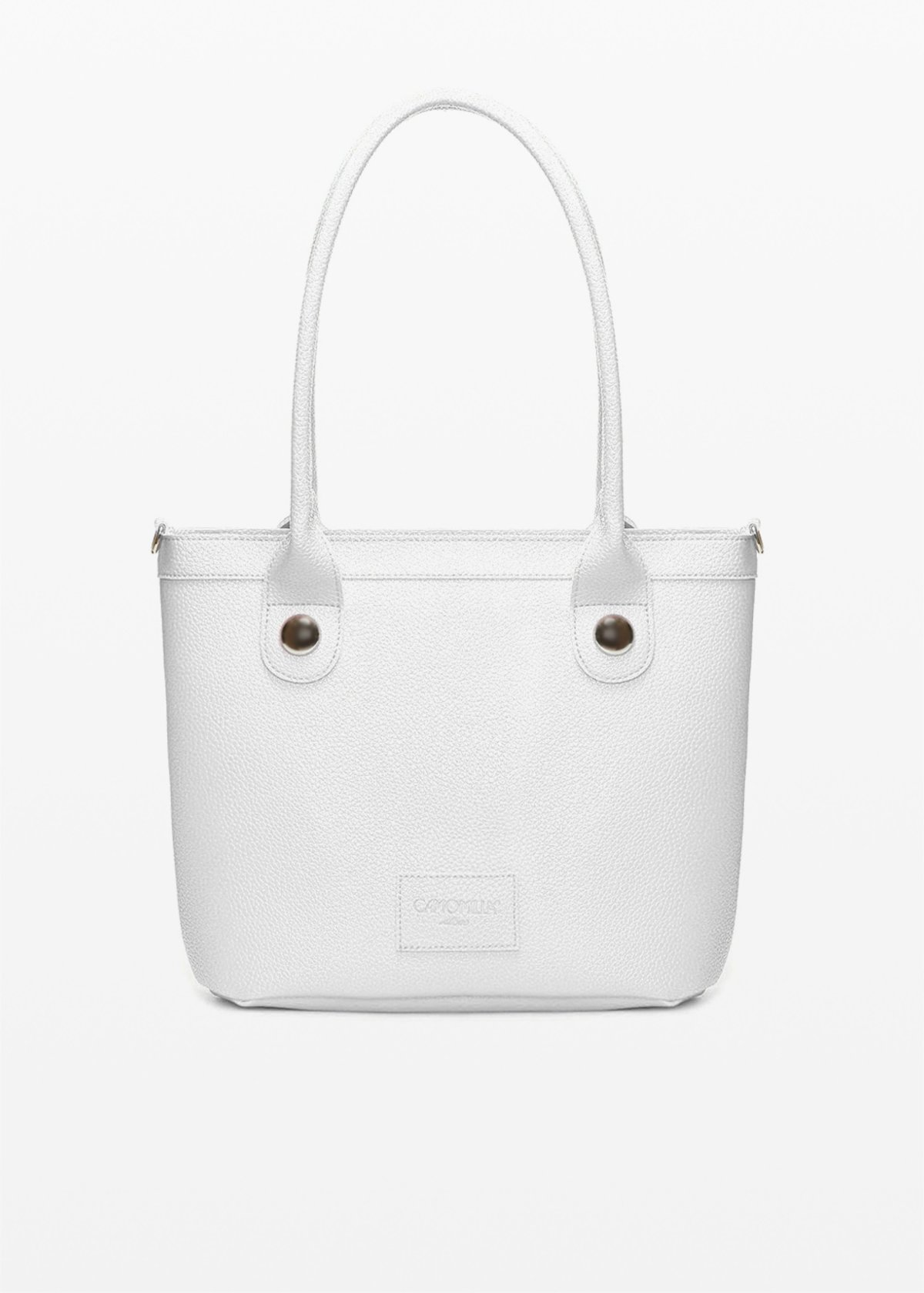 Baggy faux leather bag with metal details - White - Woman