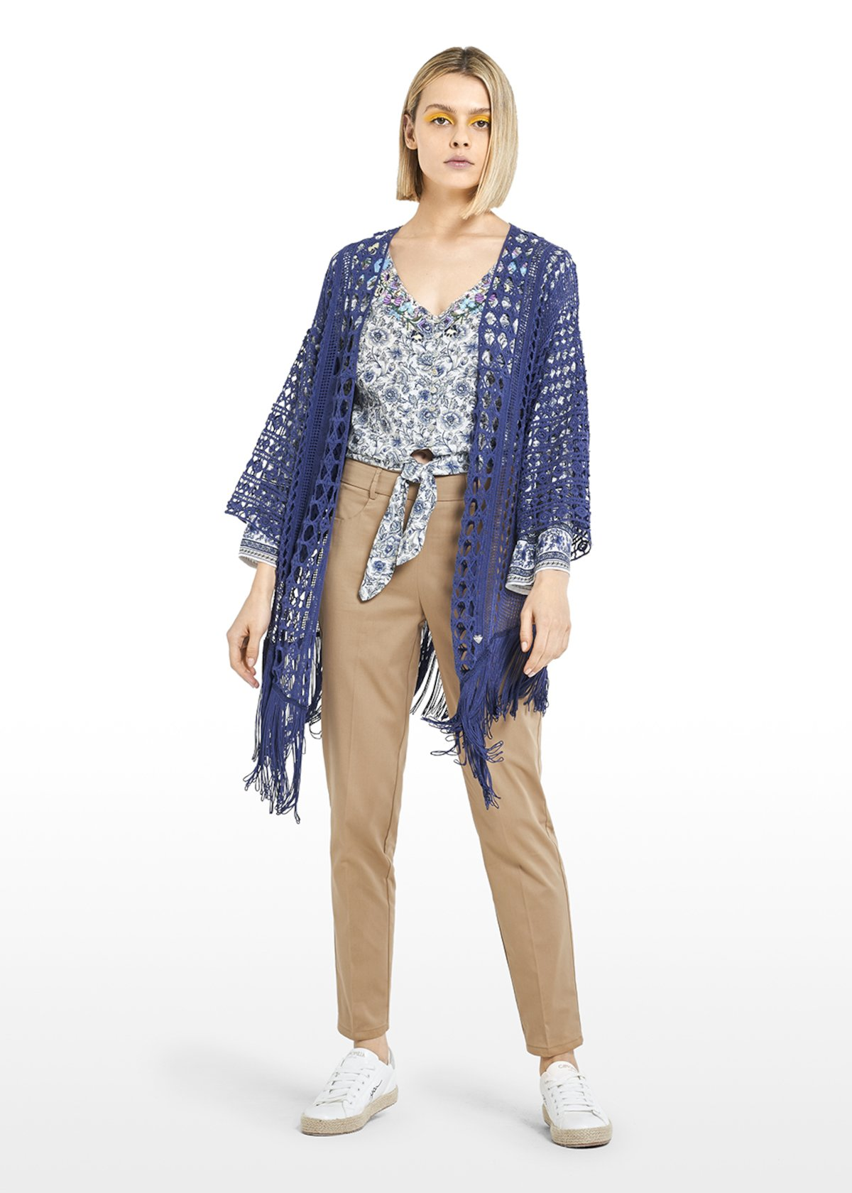 Cloedy long Cardigan with fringes at the bottom - Blue - Woman