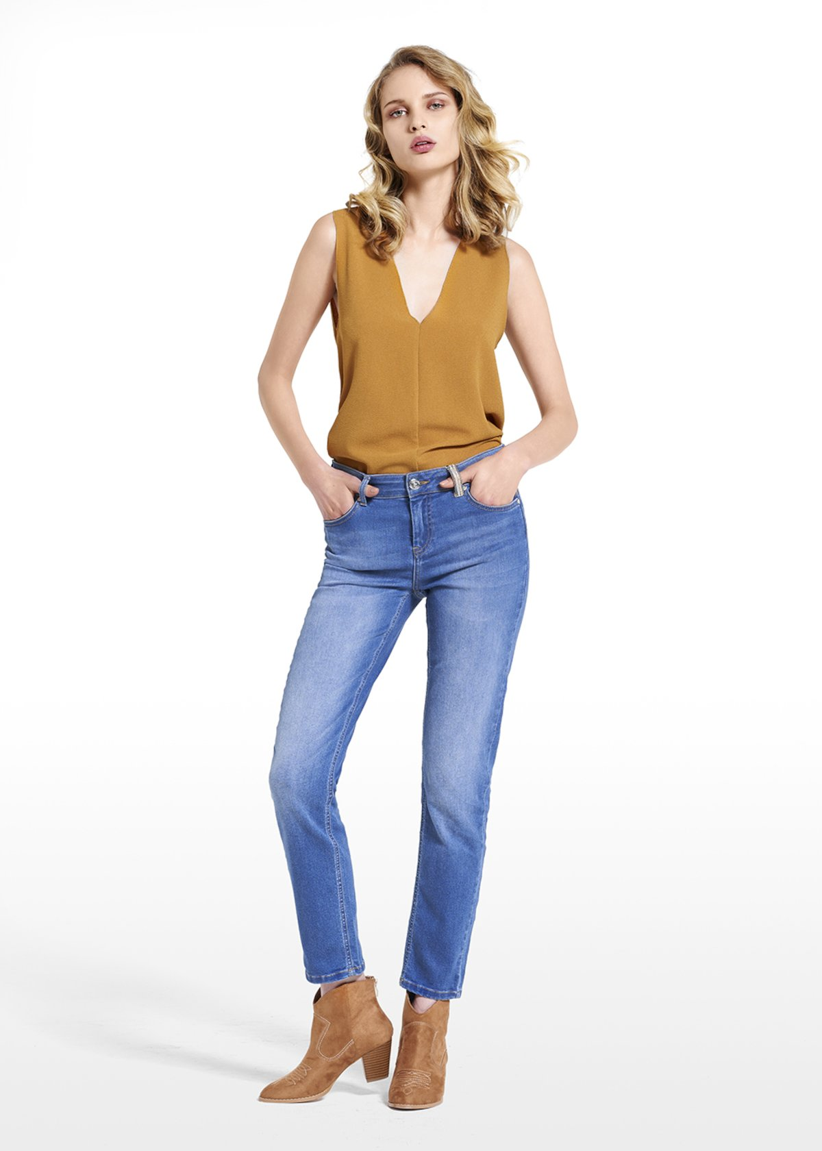 Jeans Donny with lurex detail - Medium Denim - Woman - Category image