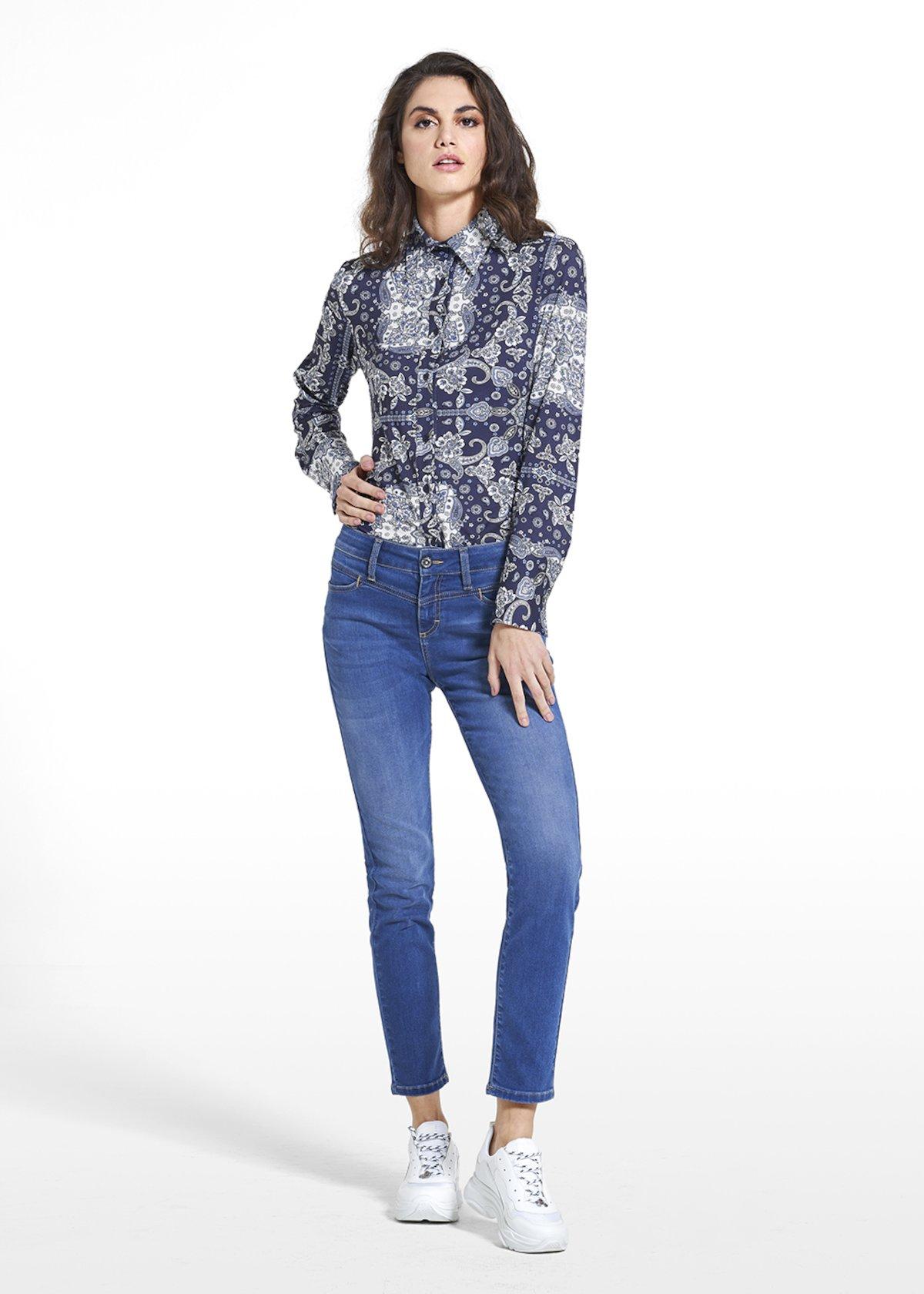 Jeans Dannys con bottone crystal - Medium Denim - Donna