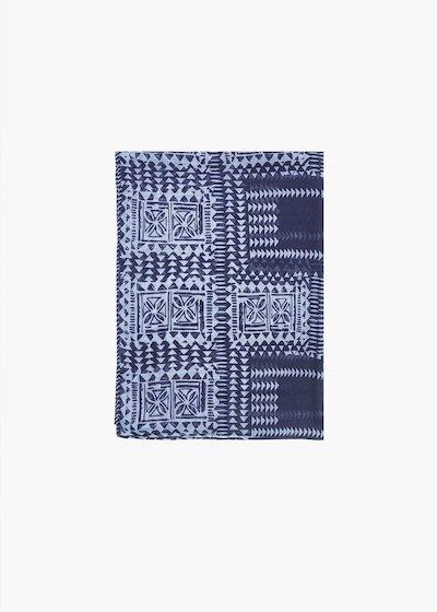 Sara geometric print scarf with talk background