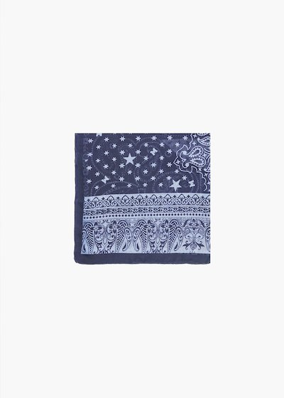 Cashmere print scarf Sagy with linen colour background