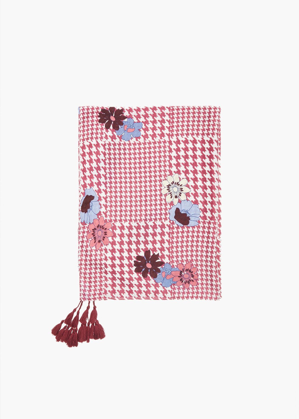 Smilly scarf hounds tooth pattern with tassels - Morello Fantasia - Woman