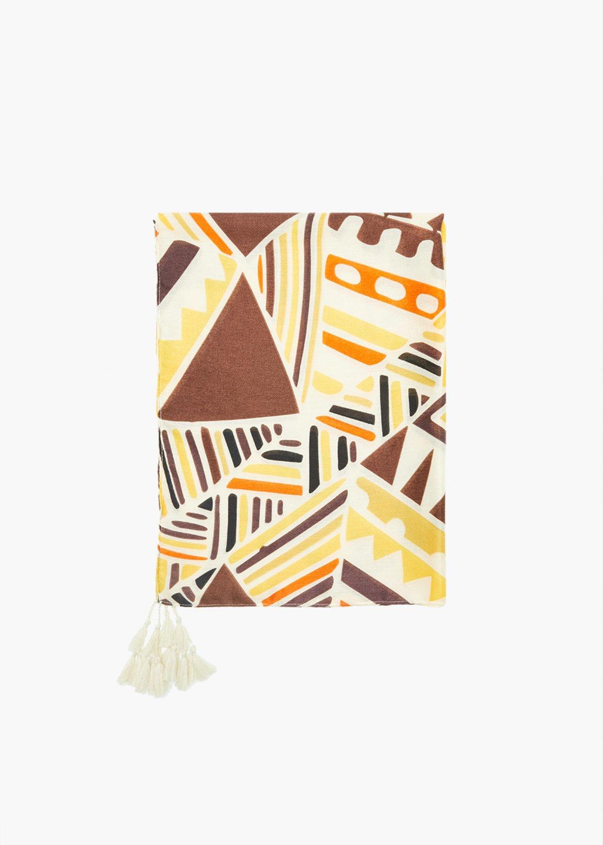 Stuart geometrical print scarf with tassels
