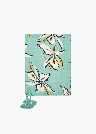 Stasy flower print scarf with tassels