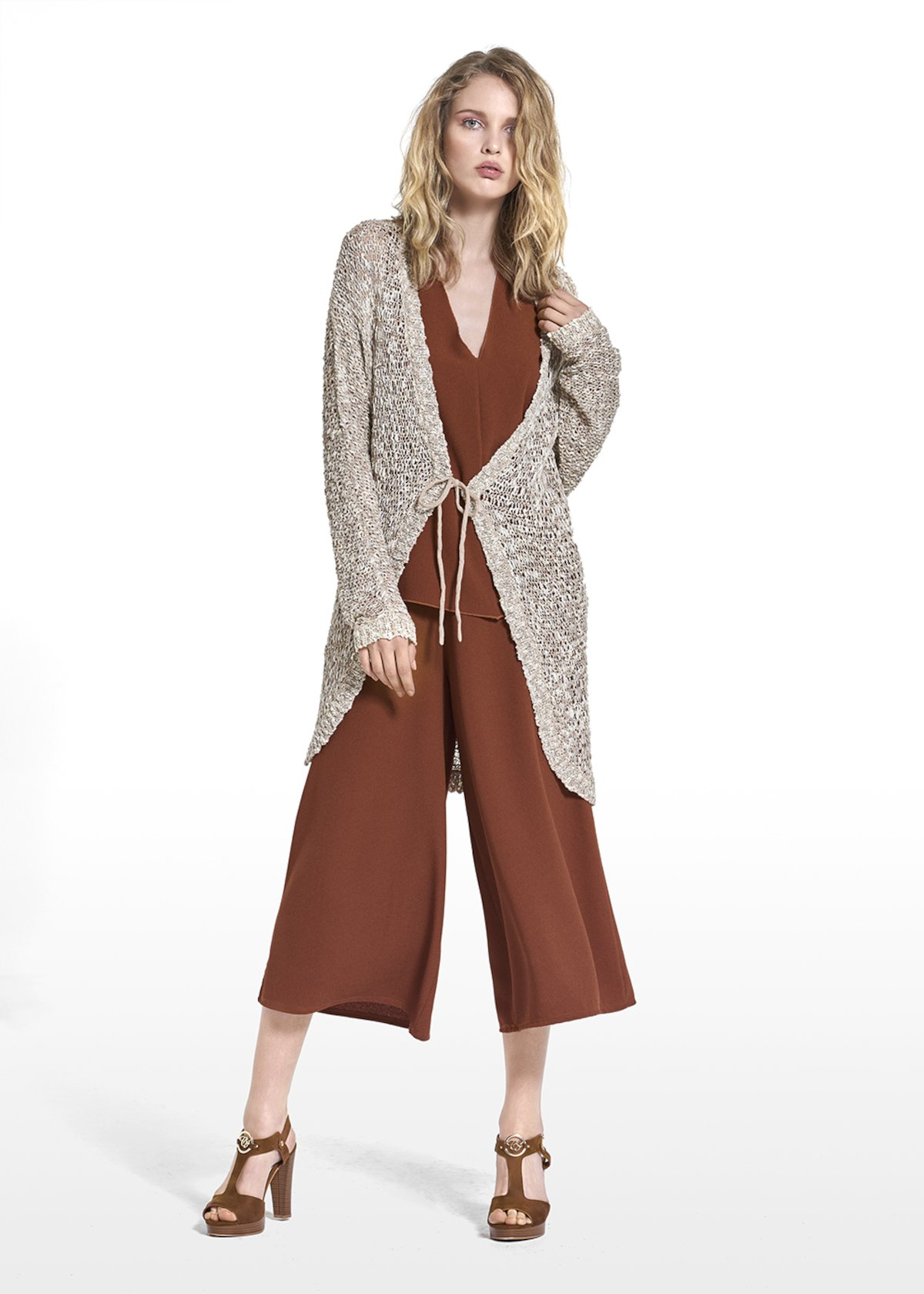 Corin long cardigan with bow - Doeskin / Light Beige / Fantasia - Woman