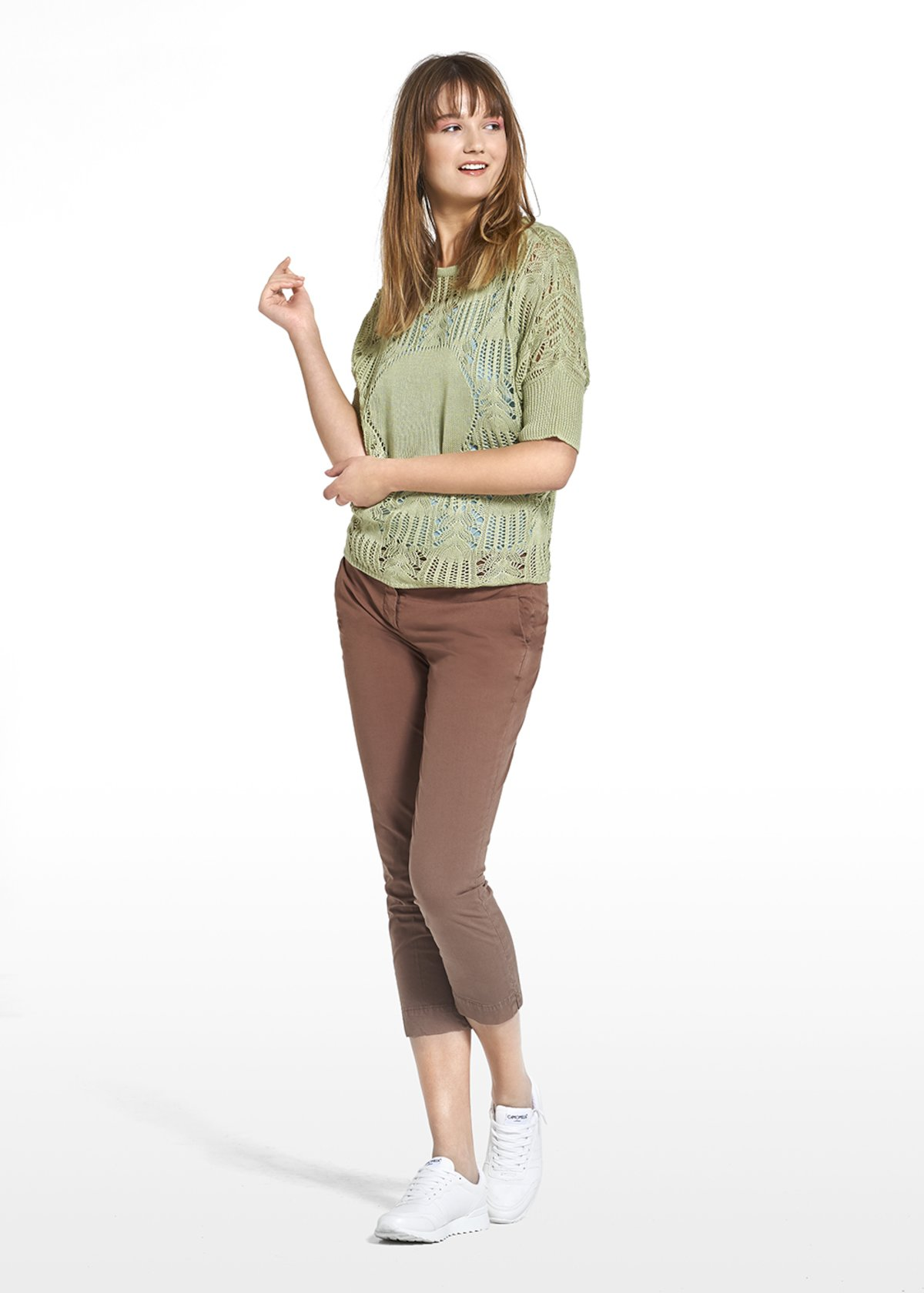 Marty jersey with perforated details with short sleeves - Avocado - Woman - Category image