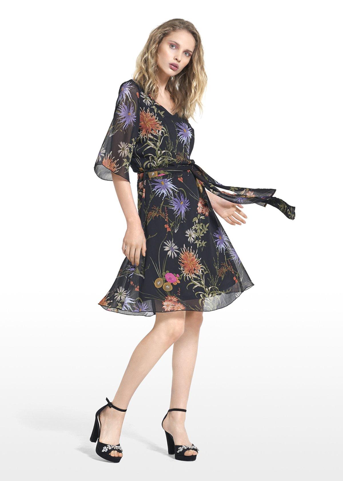 Angel dress in floral print georgette - Black\ Oca\ Fantasia - Woman