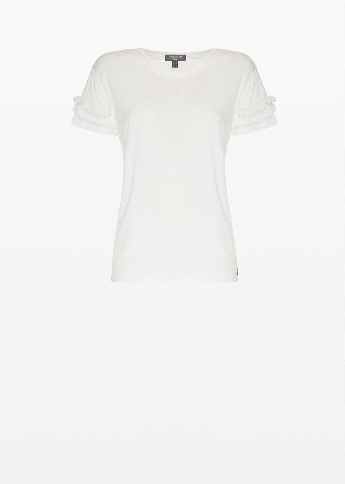 T-shirt Sabry in jersey con rouches al fondo manica - White - Donna