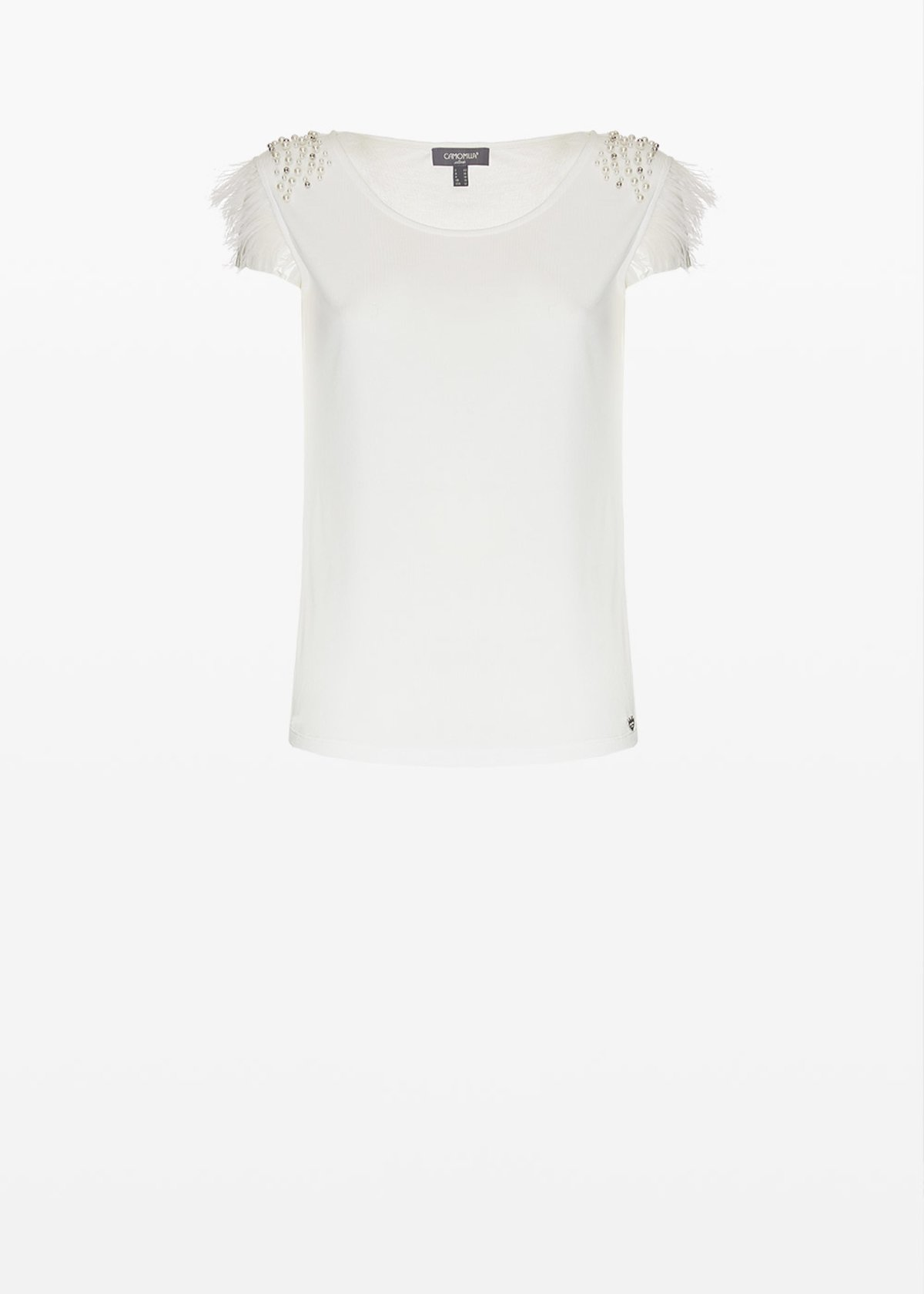 Tamir jersey top with pearls and feathers detail