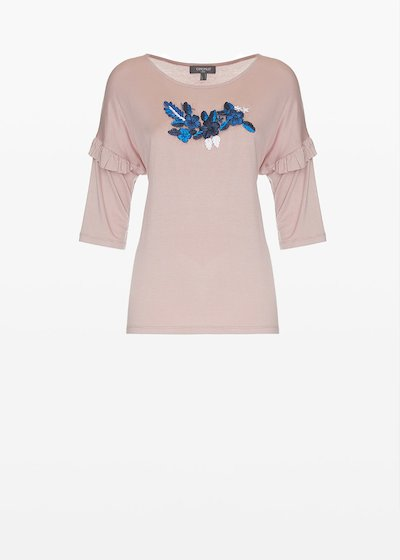 Shady jersey t-shirt with embroidered flowers on the front