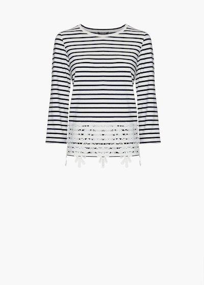 T-shirt Shelby stripes fantasy con dettaglio pizzo sul fondo