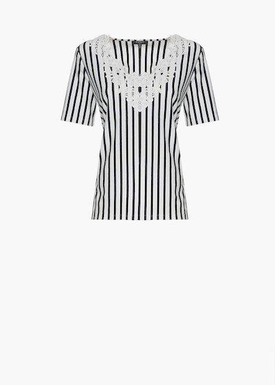 T-shirt Shiny stripes fantasy con ricamo flower allo scollo