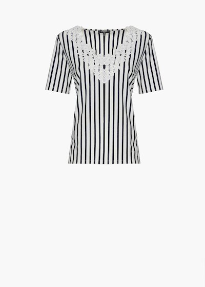 Shiny stripes fantasy t-shirt with flower embroidery at the neckline