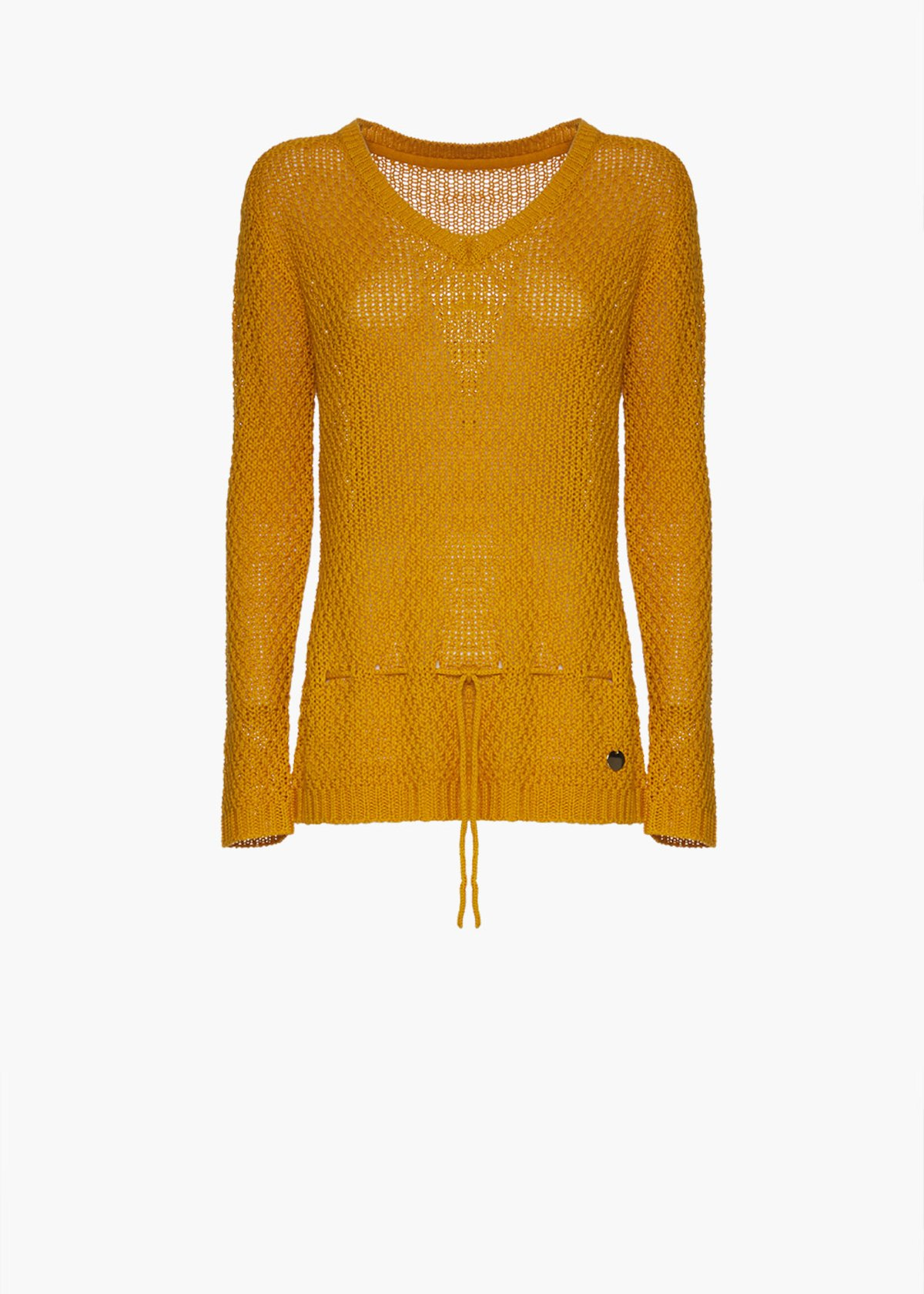V-neckline and drawnstrings at the bottom sweater Magdy - Brown - Woman