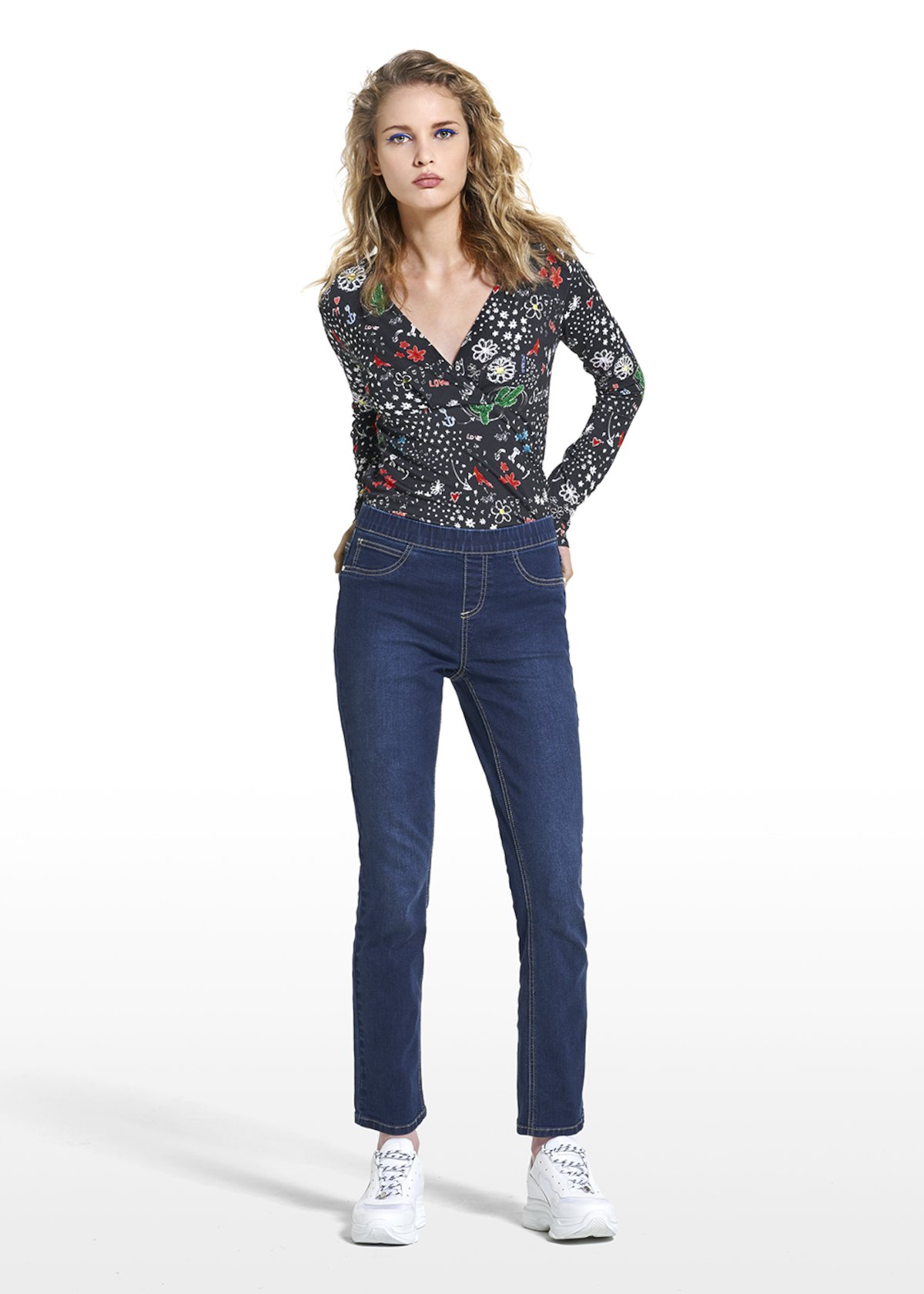 Jeggings Denis in denim con rivetti a forma di rose - Dark Denim - Donna