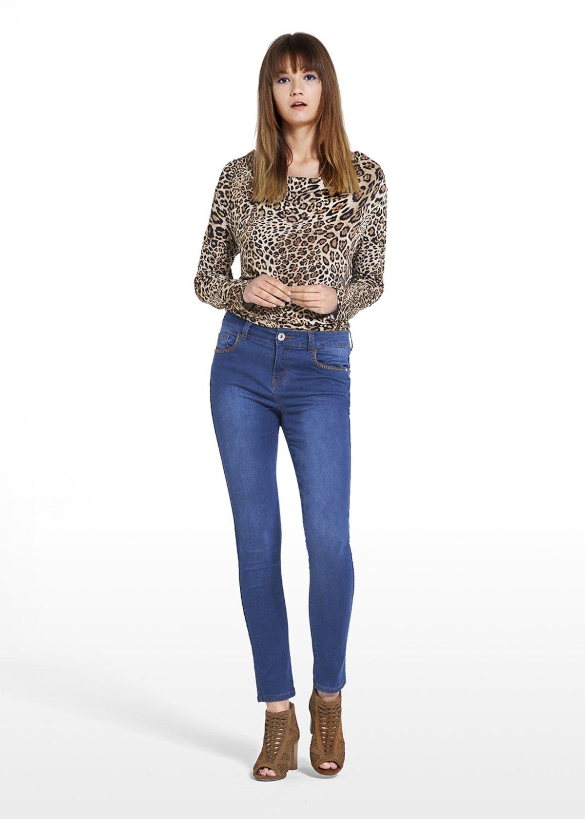 Jeans Denver with knitted stitch detail around the pockets - Medium Denim - Woman