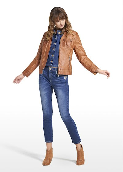 Faux leather jacket Gledis with round neck
