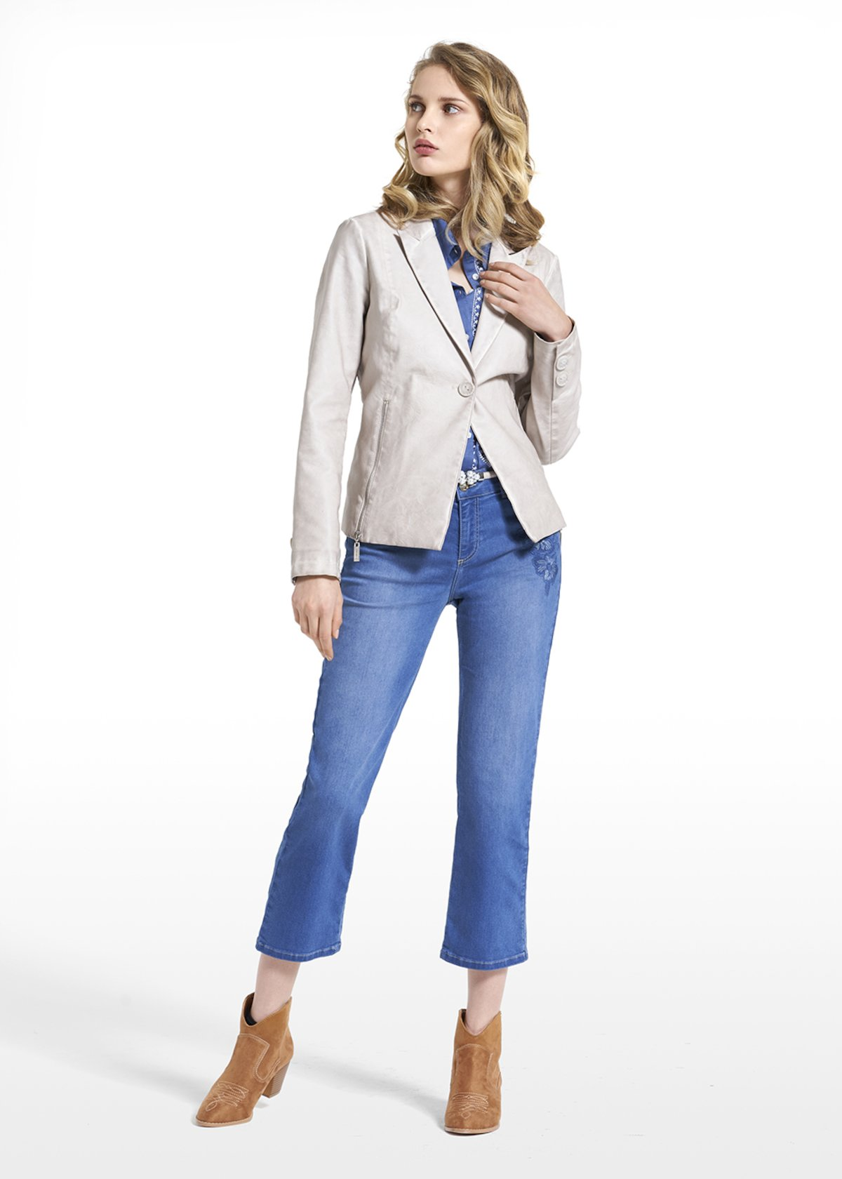 Faux leather jacket Guliver with stripes style inner lining - Light Beige - Woman - Category image
