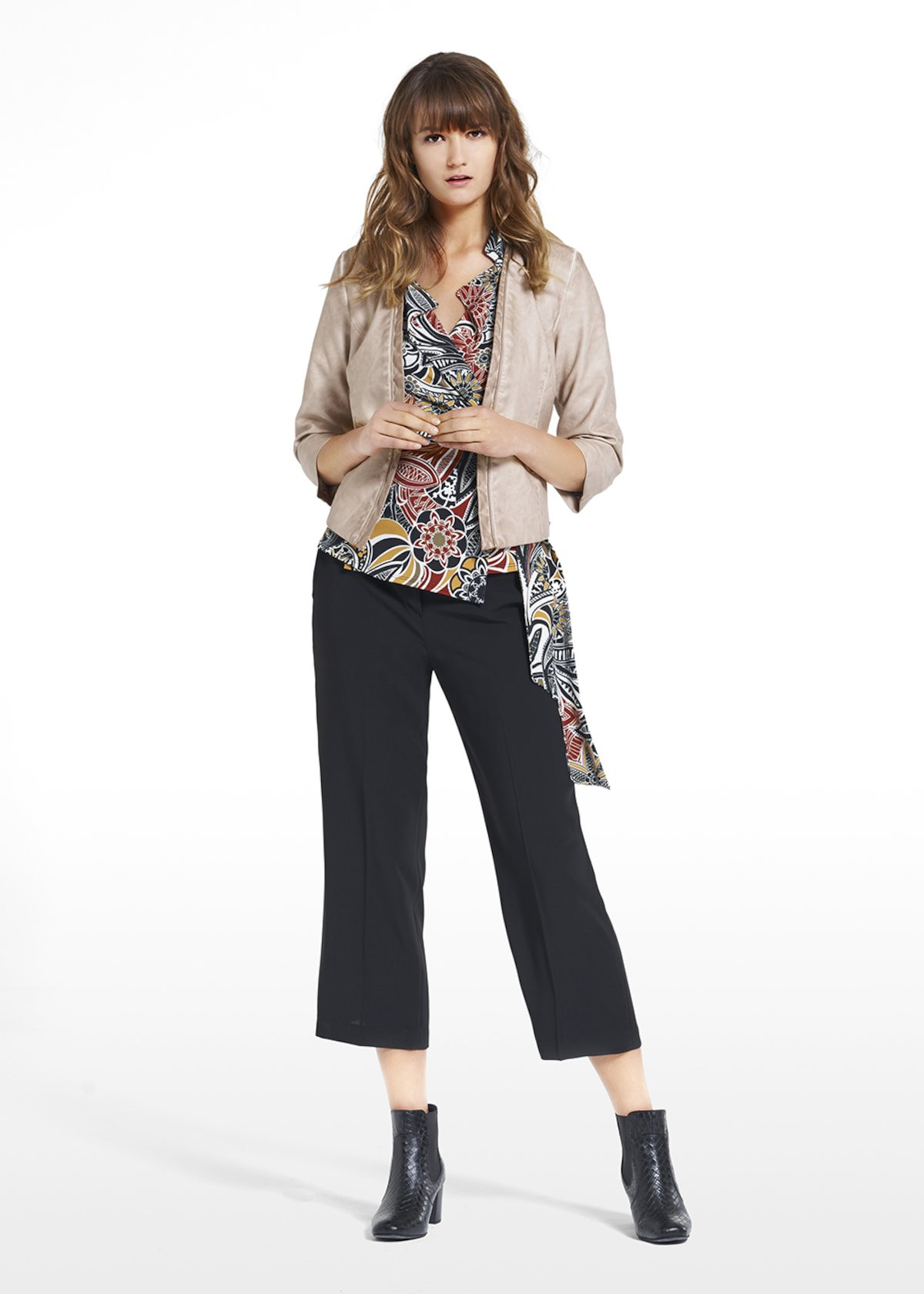 Faux leather shrug Calyd with 3/4 sleeves - Doeskin - Woman