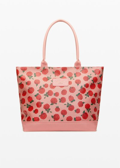 Shopping bag Trendros6 in ecopelle con stampa rose