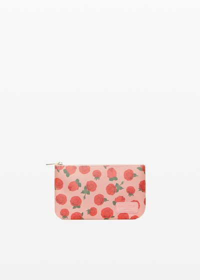 Faux leather Tonga Ros6 clutch with roses print