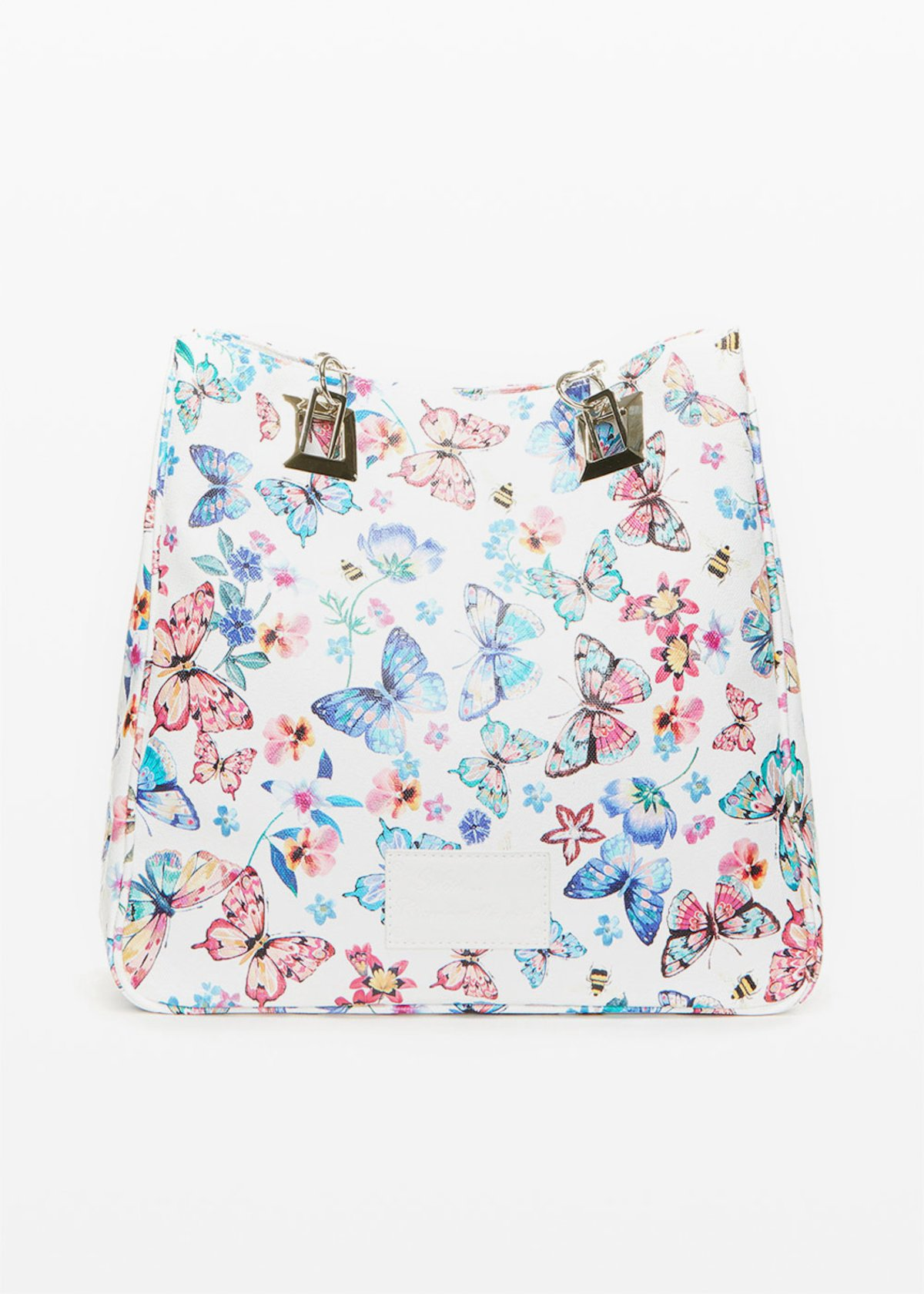 Minibufl faux leather shopping bag butter-flowers print - White Fantasia