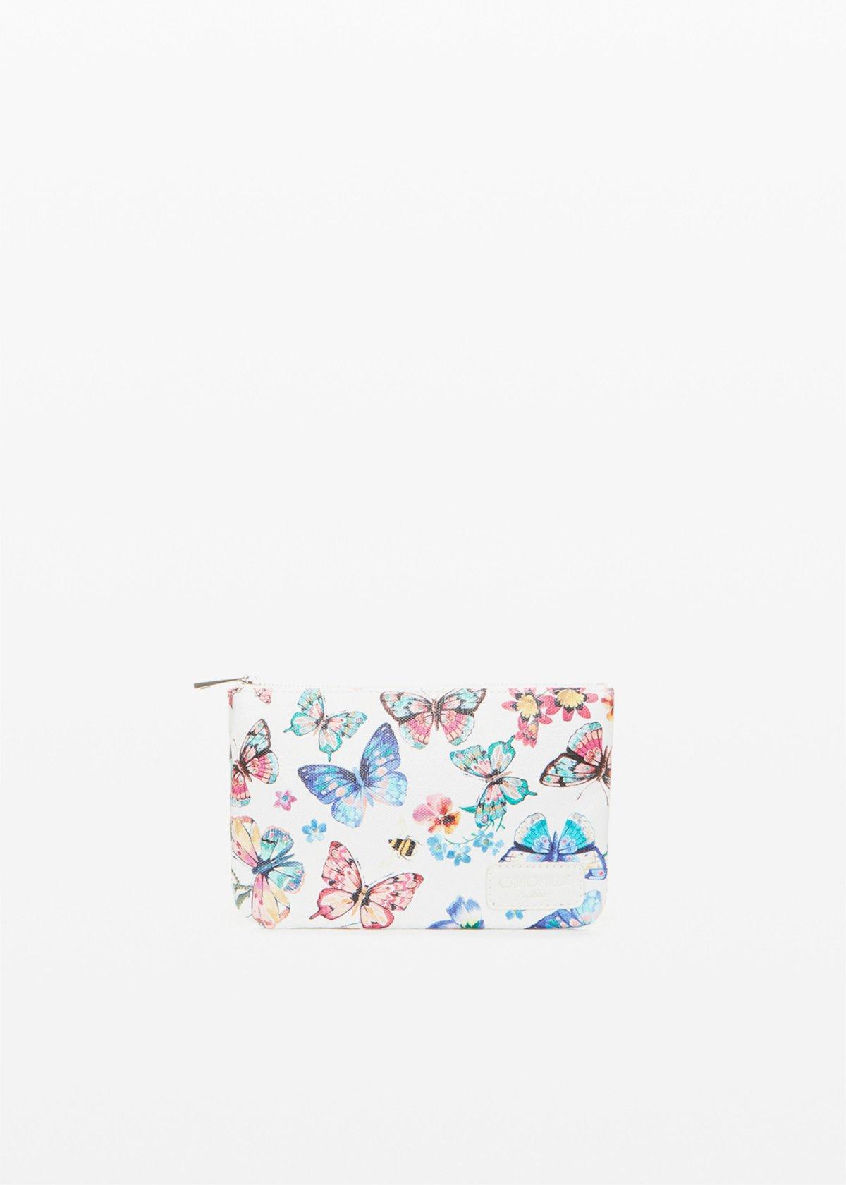 Small bag Tongbutfl in ecopelle butterflowers print - White Fantasia - Donna