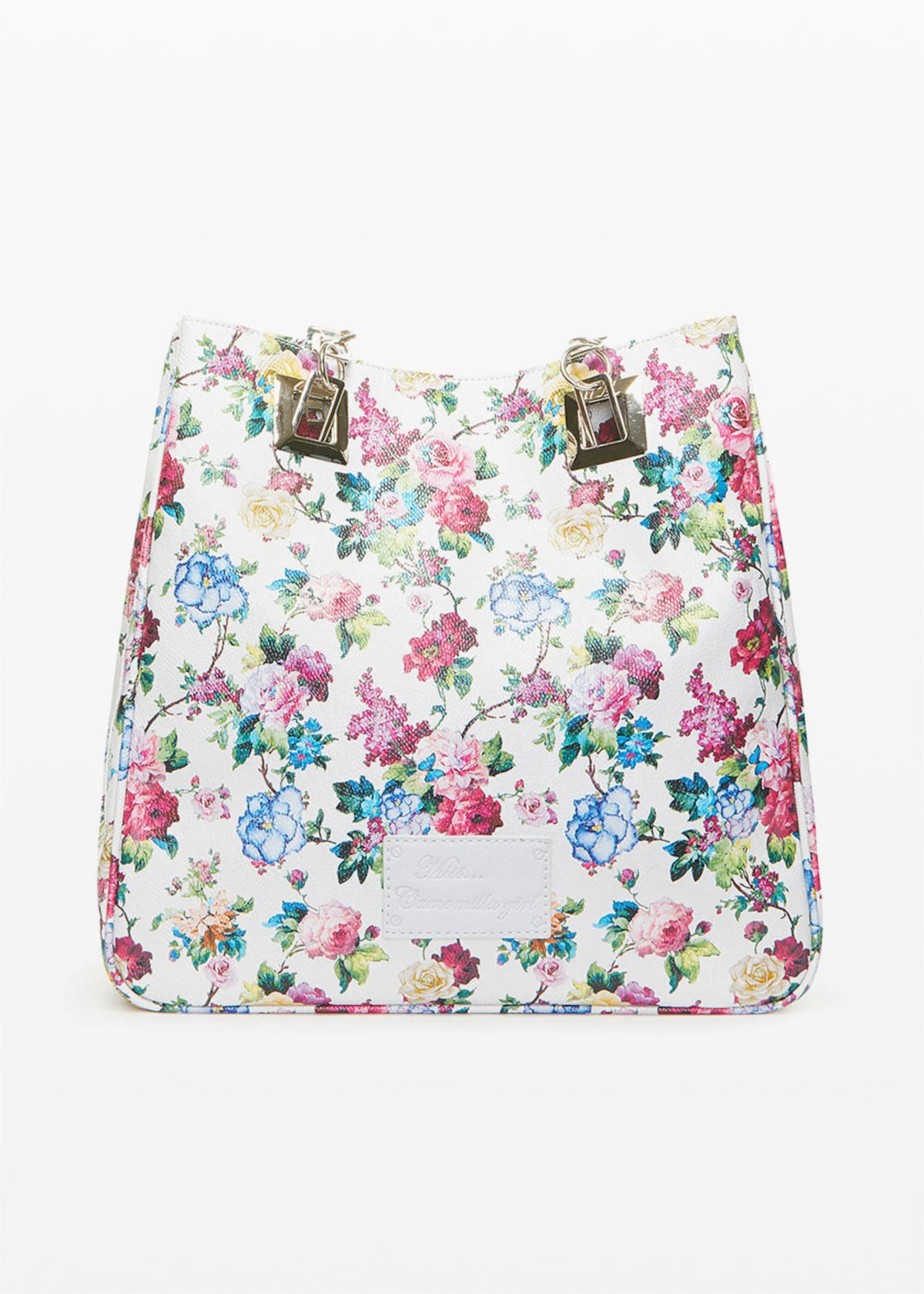 Mmissflo1 faux leather Shopping bag with floral print - Light Grey Fantasia - Woman